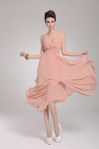 2013 uus rand Böömi naiste kleit Sifonki V kaela kaua Maxi kleit Ball õhtu poole naha-roosa