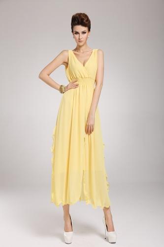 2013 uus rand Böömi naiste kleit Sifonki V kaela kaua Maxi kleit Ball õhtu pool kollane