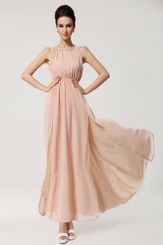 2013 uut suve Böömi Beach naiste kleit Chiffon Split päitsed Backless kaua Maxi kleit pool õhtul heleroosa