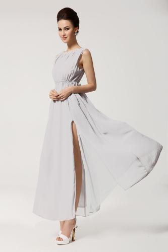 2013 New Summer Bohemian Beach Women's Dress Chiffon Split Halter Backless Long Maxi Dress Party Evening Gray-blue