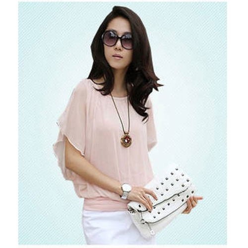 Fashion Women's Ladies Loose Tops Summer Ruffle/ Flouncing Short Sleeve Chiffon Blouse Shirt Pink
