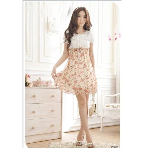 Moda mujeres señoras vestido de Gasa verano Floral cintura elástica flor Patchwork manga corta Mini vestido flor rosa