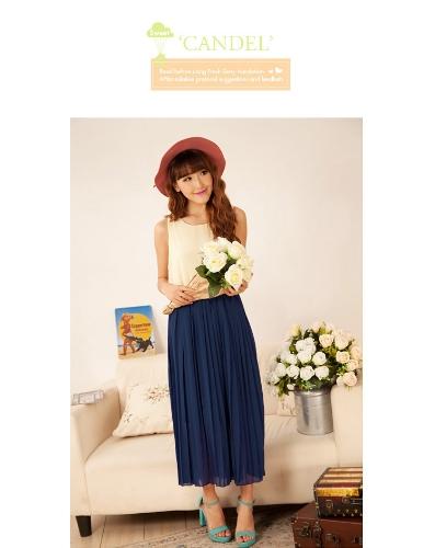 Fashion Lady naiste kleit Chiffon kontrast värvi varrukateta ühes tükis kleit plisseeritud beez & pikihoone sinine