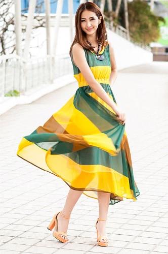 Moda czeska Kobiety Lady Sukienka Szyfon chromatyczna Stripe Asymetryczne O-Neck bez rękawów Summer Beach Żółty