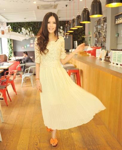 Sommer Elegant Lady Damen Kleid Chiffon Spitzen häkeln Vintage Plissee langes Kleid Beige