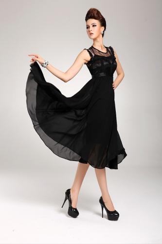 New Elegant Women's Dress Chiffon Lace Sleeveless Long Ball Gown Evening Dress Black