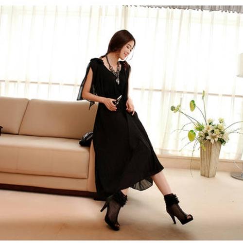 Moda coreana mujeres señoras vestido largo de gasa arco abierto hombro corte mariposa manga plisada vestido largo negro una sola pieza