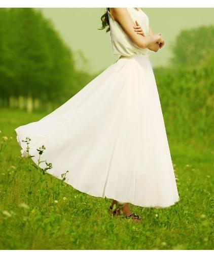 Moda lato Kobiety Maxi Szyfonowa spódnica plisowana 3 warstwy Fairy długiej spódnicy w pasie Bohemia Plaża Beige
