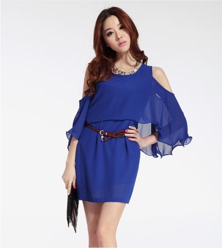 Mujeres sexy carrera damas vestido de gasa manga del Batwing recorte volante volantes una pieza Mini vestido OL Casual azul