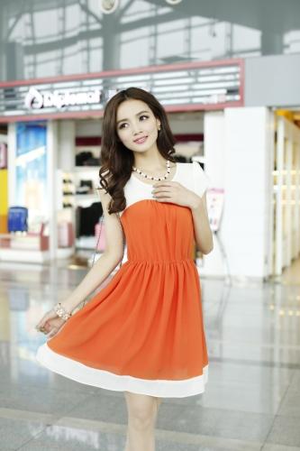 Moda coreana mujeres señoras vestido de Gasa pétalo manga botón elástico en la cintura una pieza naranja