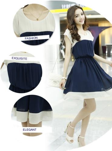 Moda coreana mujeres señoras vestido de Gasa pétalo manga botón elástico en la cintura Mini una pieza azul oscuro
