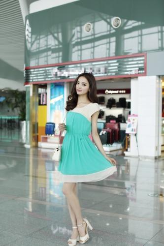 Moda coreana mujeres señoras vestido de Gasa pétalo manga botón elástico en la cintura Mini una pieza verde claro