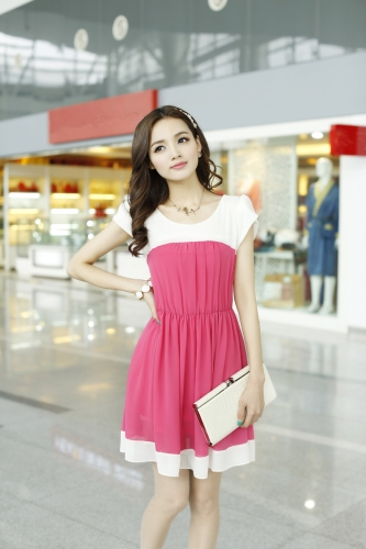 Moda coreana mujeres señoras vestido de Gasa pétalo manga botón elástico en la cintura Mini una pieza rosa