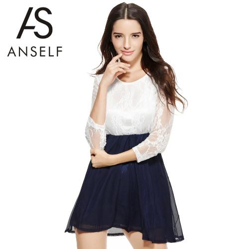 Moda sexy verano mujeres señoras vestido de gasa del cordón superior Mini vestido patinador lindo Casual blanco & oscuro azul