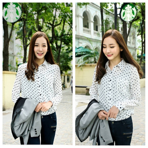 Mode Frauen Damen Chiffon Shirt Polka Dot Revers Bluse Langarm lose Tops OL lässig Vintage Black