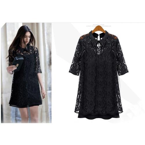 Nueva moda vestido encaje hueco femenina a media manga Casual negro fiesta de verano