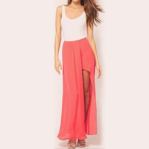 Mujeres sexy Boho Retro lado abierto de la falda de Gasa partido sólido largo falda Maxi rojo de la sandía