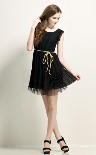 Verano mujeres Vestido de Gasa y encaje Floral enteriza mariposa manga Mini falda plisada vestido negro