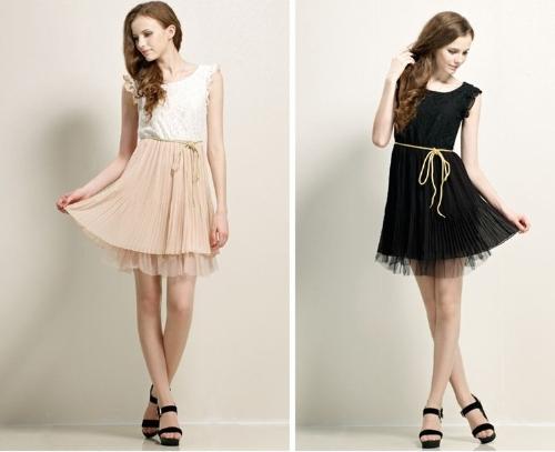 夏の女性のドレス シフォン ワンピース花柄レース蝶袖プリーツ スカート ミニ ドレス ブラック