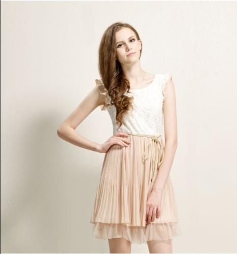 Las mujeres verano vestido de Gasa y encaje Floral enteriza mariposa manga plisada falda Mini vestido Beige