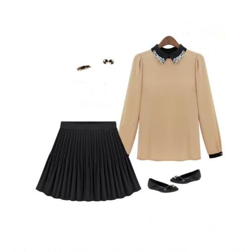 Fashion Summer Women Chiffon Skirt Short Pleated High Waist Mini Skirt Vintage Black