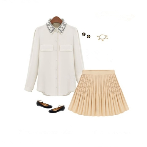 Moda verano mujeres falda de Gasa corta plisada cintura alta Mini falda Vintage Beige