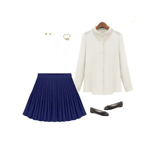 Moda verano mujeres falda de Gasa corta plisada cintura alta Mini falda Vintage azul
