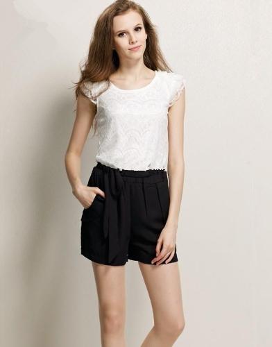 Nueva moda mujeres dama trajes gasa encaje mamelucos general cortos volante manga blanco y negro