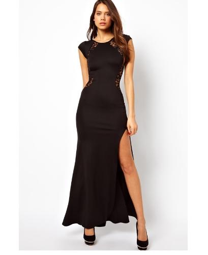 Mujeres Sexy vestido encaje Bodycon nuevo Slim transparente la espina de pescado partida larga fiesta vestido negro