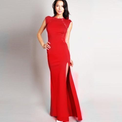 Mujeres Sexy vestido encaje Bodycon nuevo Slim transparente la espina de pescado partida larga fiesta vestido rojo