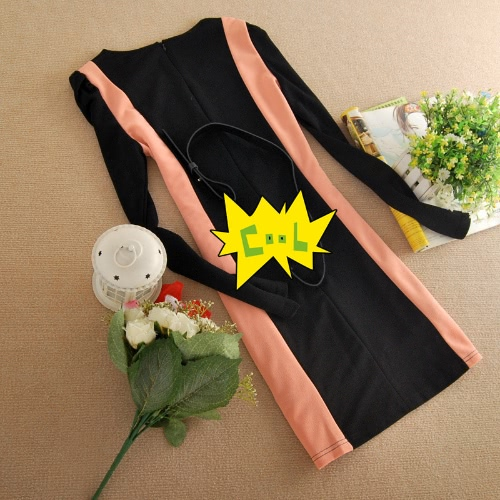 Tomtop coupon: OL Sexy Mini Dress Long Sleeves O-neck Patchwork Sheath One-piece with Belt