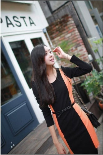 OL Sexy Mini Kleid Langarm O-Neck Patchwork Mantel einteilig mit Gürtel
