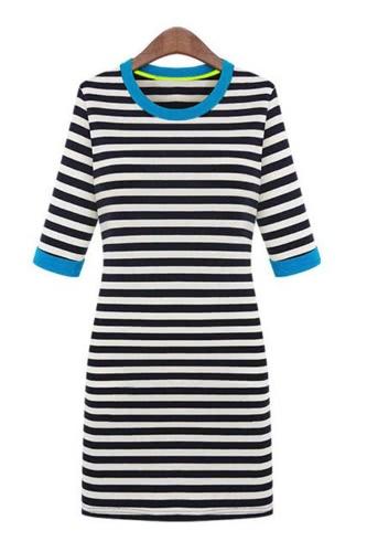Mulheres de novo estilo listra Mini vestido meia manga redonda contraste pescoço lápis uma peça vestido azul