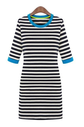 Las mujeres nuevo estilo Mini vestido media manga redondo cuello de contraste una pieza lápiz vestido azul de la raya