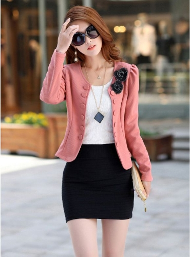Mode OL dame femme Blazer Double Breasted Puff Sleeve Jacket noeud papillon dos manteau rose