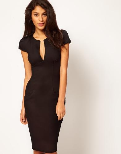 Moda sexy mujer lápiz vestido profunda V-cuello bolsillo Slim Bodycon Midi vestido OL trabajo fiesta negro
