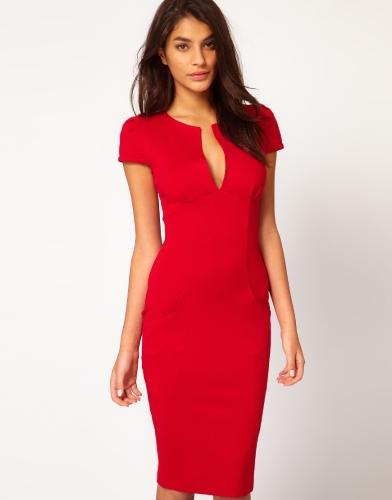 Moda sexy mujeres lápiz Vestido de penetración vestido Pocket Slim Bodycon Midi vestido OL trabajo fiesta rojo
