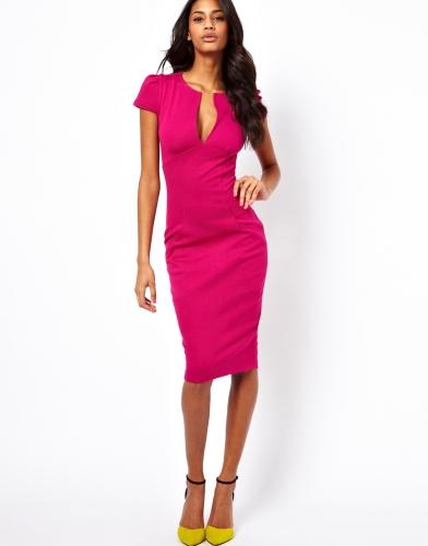 Mujeres de moda sexy vestido profunda V-cuello Pocket Slim Bodycon Midi vestido OL partido del trabajo de lápiz rosa