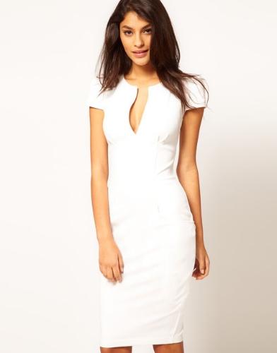 Moda sexy mujer lápiz vestido inmersión cuello Pocket Slim Bodycon Midi vestido OL trabajo fiesta blanco