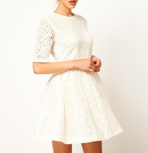 Elegante Frauen Lady Kleid floraler Spitze einteilige Party Prom Slim Skater Kleid White