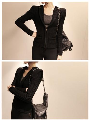 Korean Fashion Women Jacke Coat Pocket V-Ausschnitt Langarm Achselzucken Knitwear Strickjacke Black