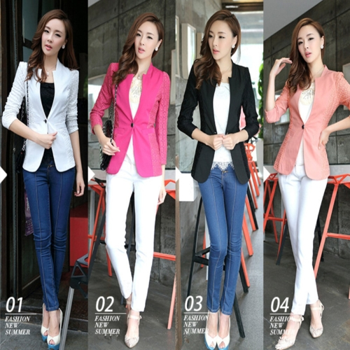 Fashion Women Lace Suit 3/4 Sleeve Blazer One Button Slim Thin Coat Rose