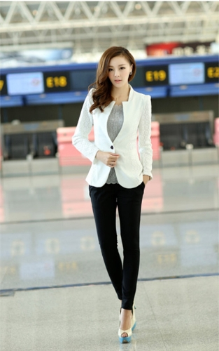 Fashion Women Lace Suit 3/4 Sleeve Blazer One Button Slim Thin Coat White