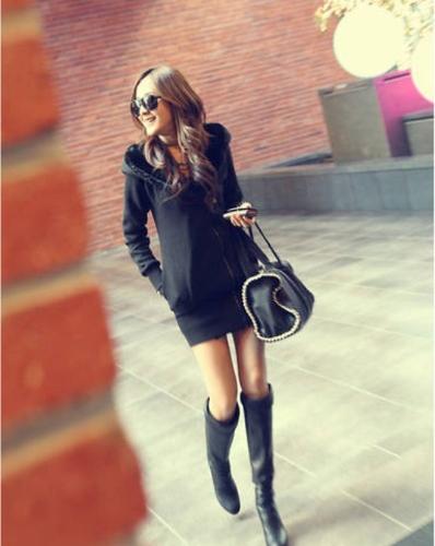 Moda mujer abrigo grueso cremallera cierre sudaderas abrigos negro