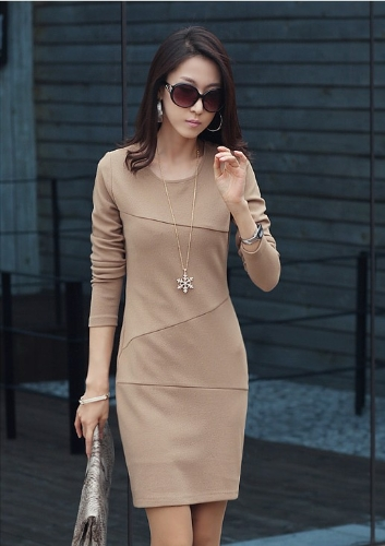 Mood elegantne naised seksikas Mini kleit pikk varrukas Slim OL pliiats kleit Khaki