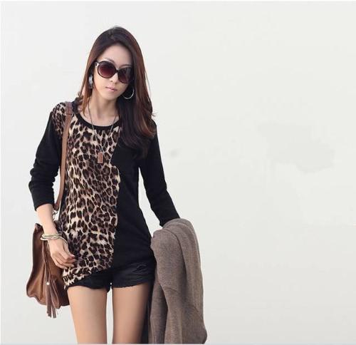 Moda na moda mulheres t-shirt mangas compridas leopardo impressão blusa solta Tops preto