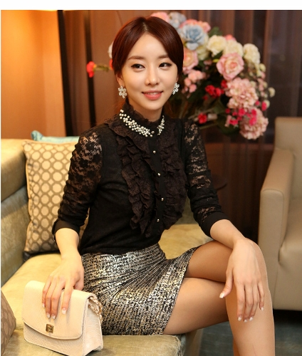 Neue elegante Frauen Lace Shirt Beading Kragen Langarm Slim Basic Tops schwarz