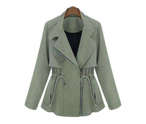 Naiste mood jope võlts kaheosaline pikk varrukas Sale talje tasku mantel Army roheline