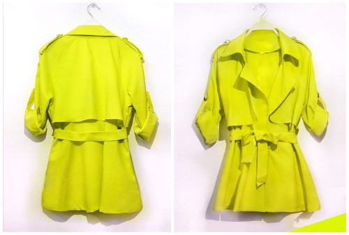 New Fashion Women Thin Blazer Ruffled Candy Color Belted Lapel Coat Jacket Yellow