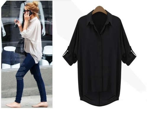 Nueva moda mujer camisa gasa descubierta cuello manga larga blusa suelta superior negro